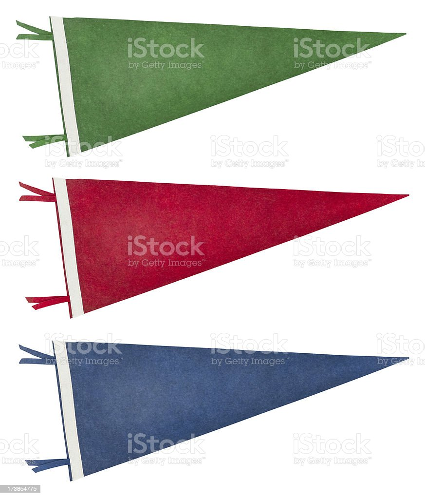 Isolated Retro Pennants (with Clipping Path) royalty-free stock photo