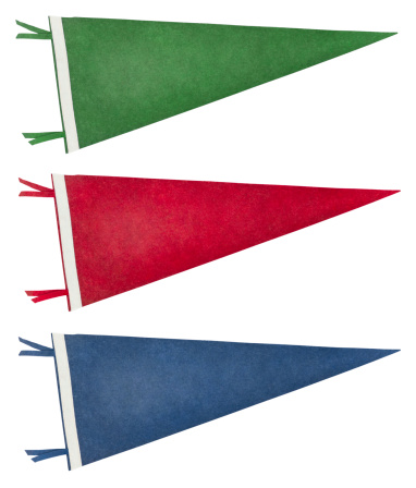 Three isolated retro pennants ca. 1970 in different colours. Includes an accurate