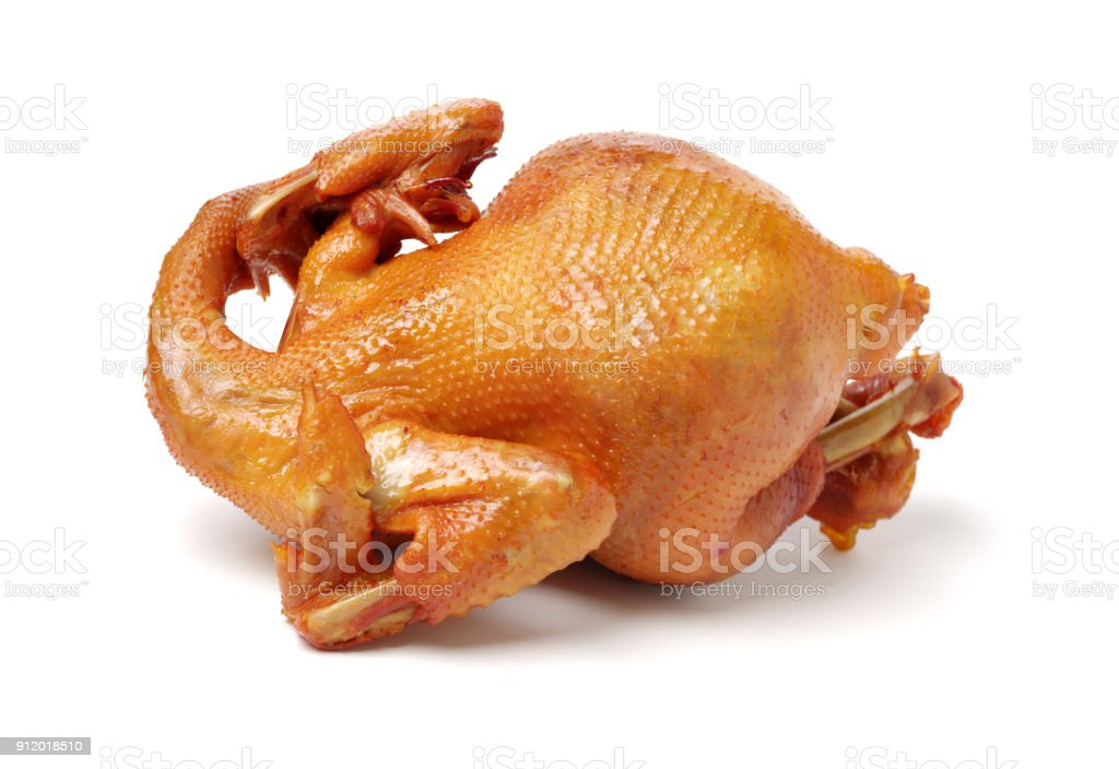 Isolated Roast Chicken    on the white background stock photo