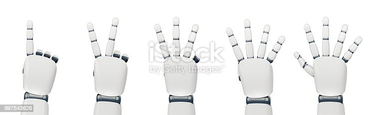 istock Isolated robot hand counting on white 997543626