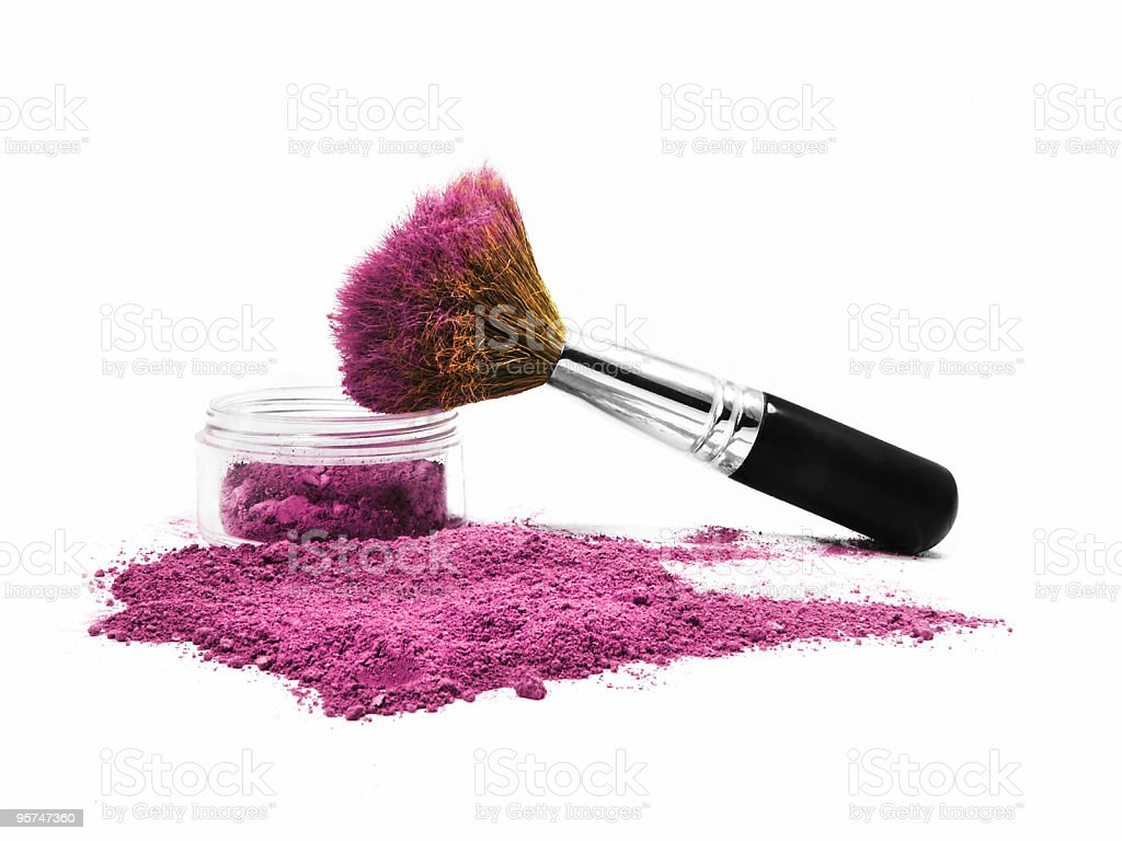Isolated Rose colored mineral make-up with brush royalty-free stock photo