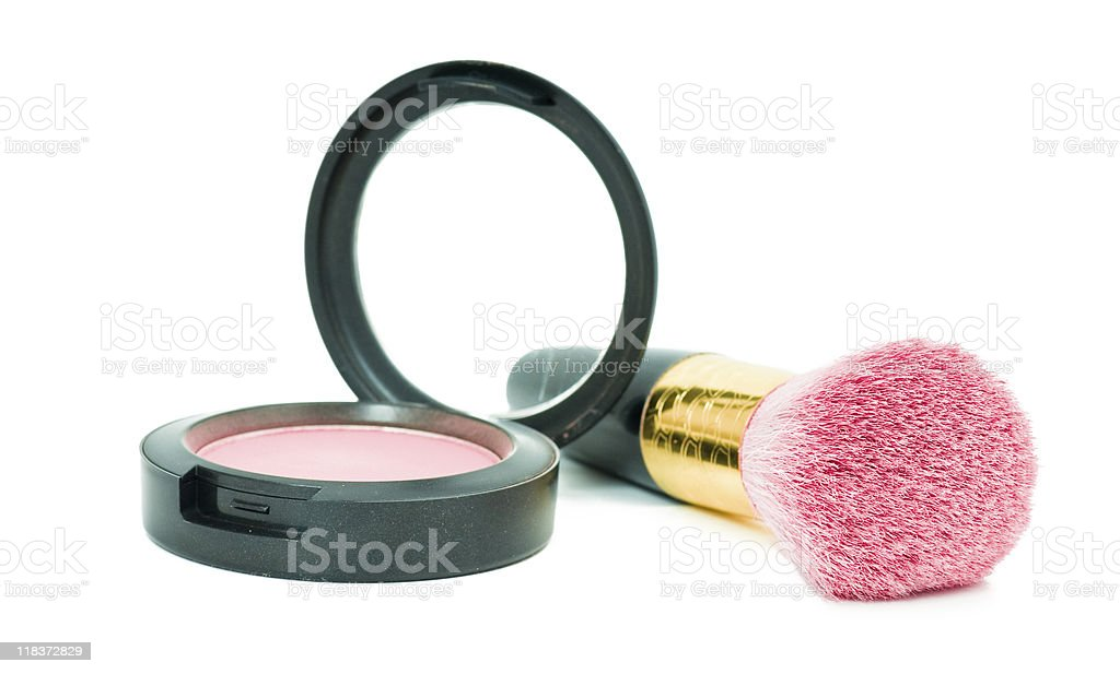 Isolated rouge make-up with brush royalty-free stock photo