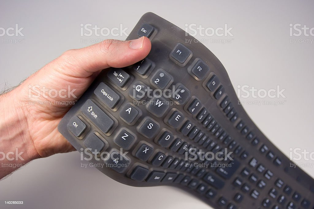 Isolated rubber portable and flexible keyboard royalty-free stock photo