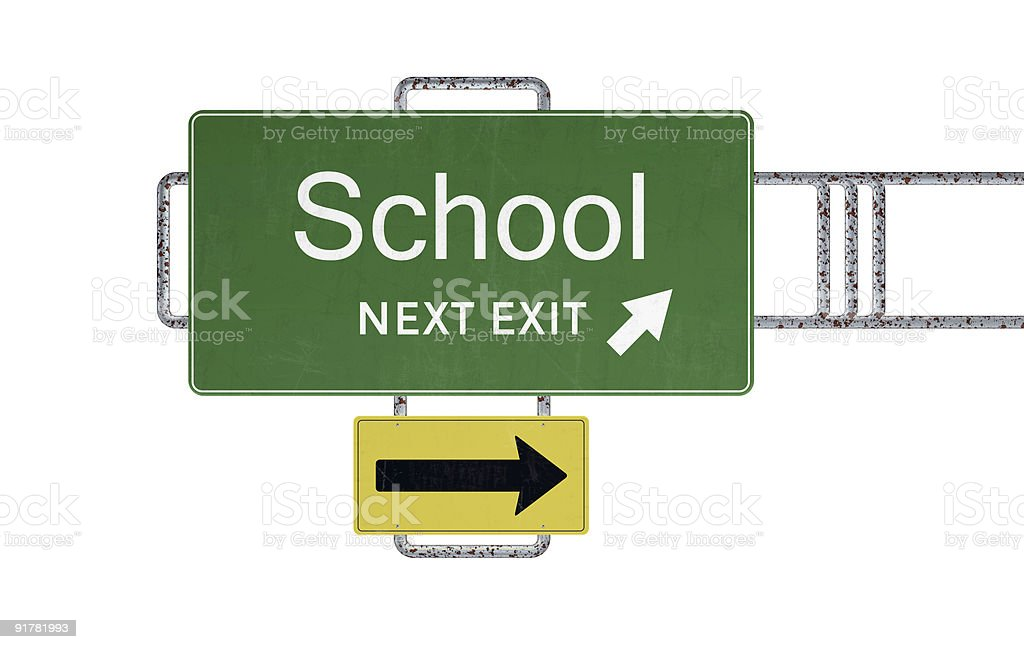 Isolated rusty school road sign royalty-free stock photo