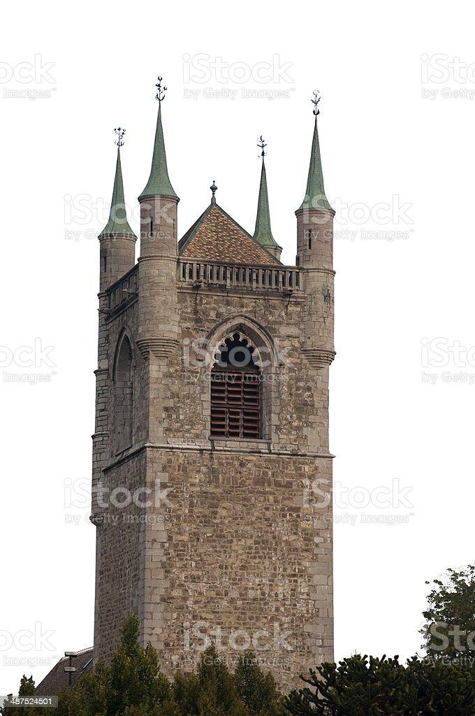 Isolated Saint Martin Church, Vevey, Switzerland stock photo