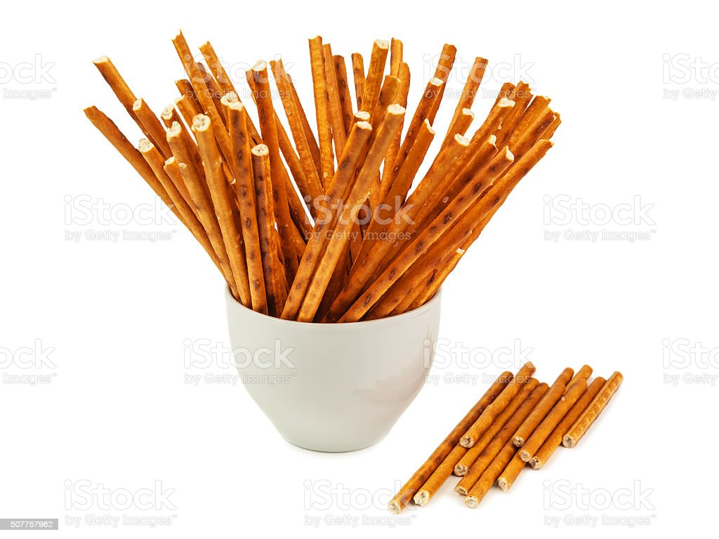 isolated salted sticks stock photo