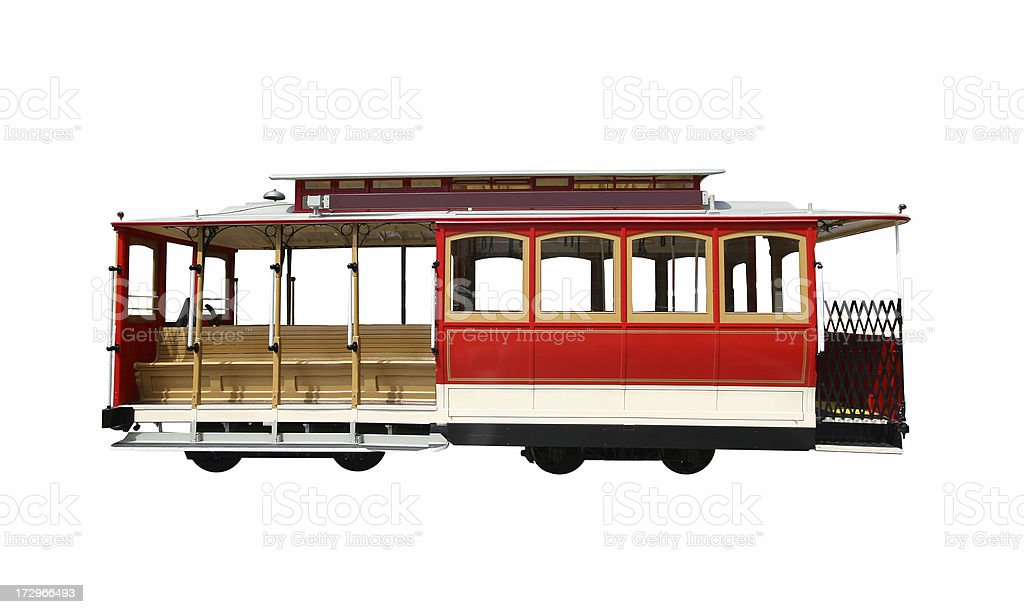Isolated San Francisco touristic Cablecar royalty-free stock photo