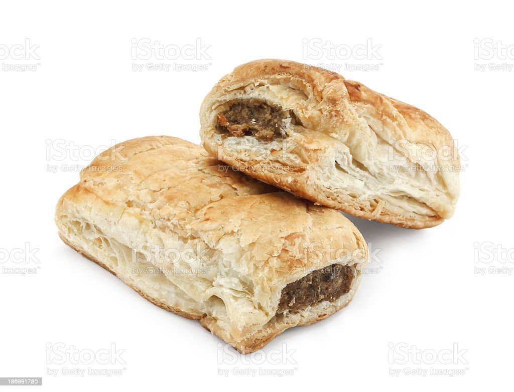 isolated sausage rolls stock photo