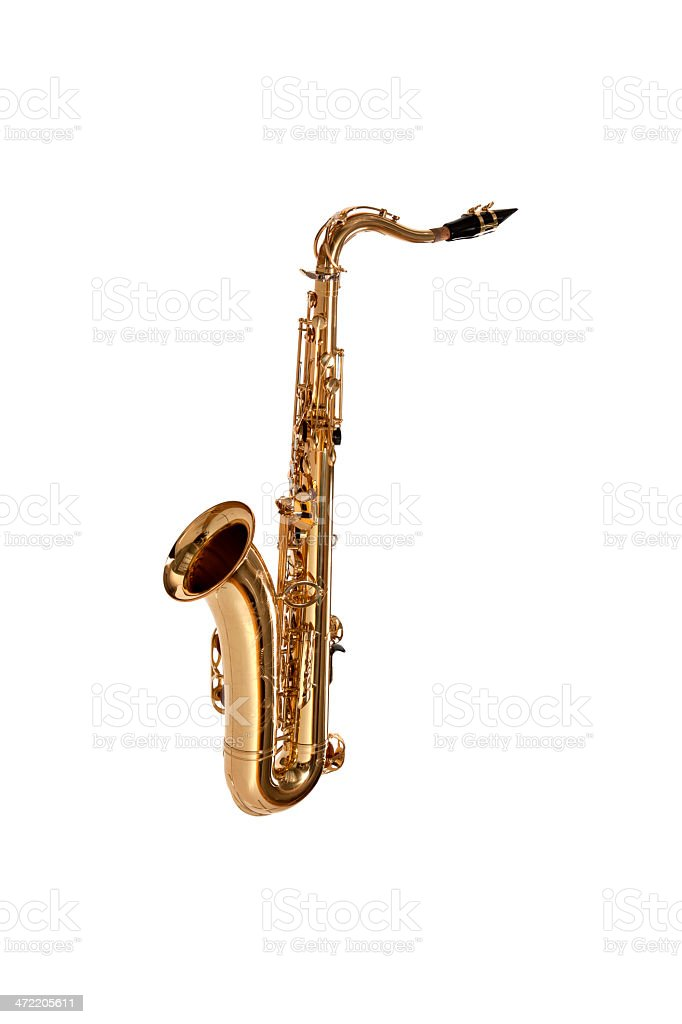 Isolated saxophone against white background royalty-free stock photo