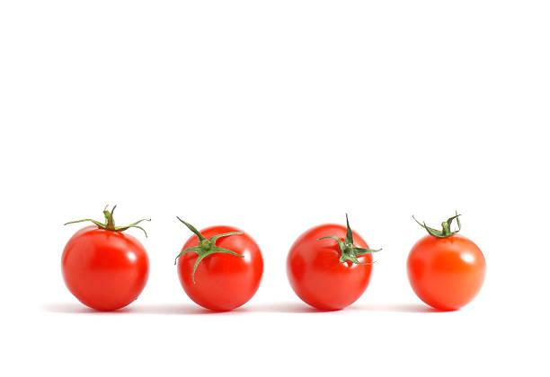 isolated set of cherry tomatoes organized in a row - körsbärstomat bildbanksfoton och bilder