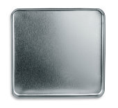 Isolated Shiny metal box bottom or lid