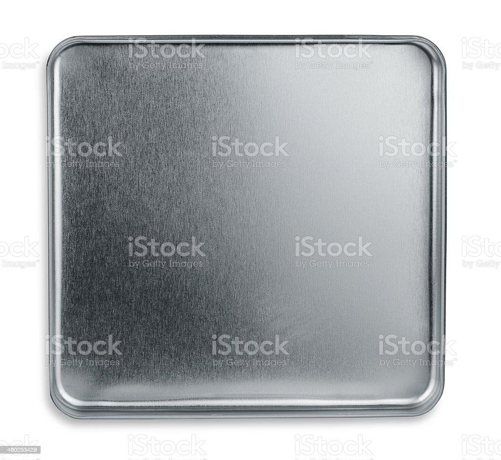 Isolated Shiny metal box bottom or lid stock photo