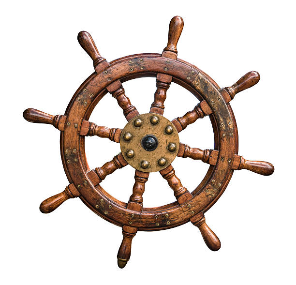 isolated ships wheel - roeren stockfoto's en -beelden