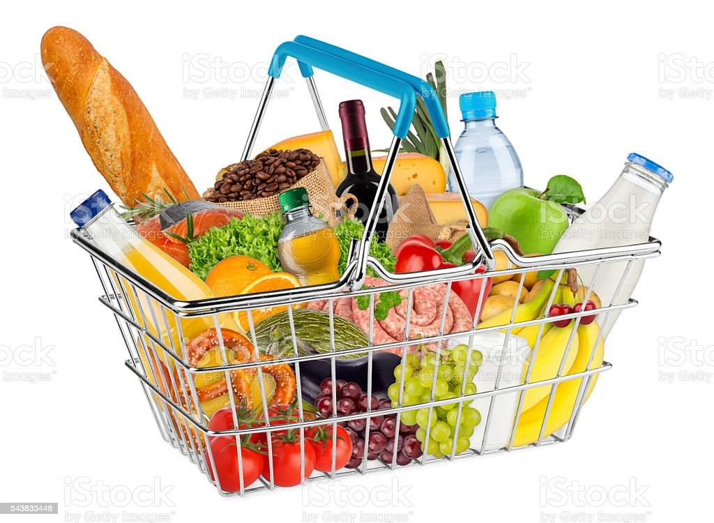 isolated shopping basket filled with food stock photo