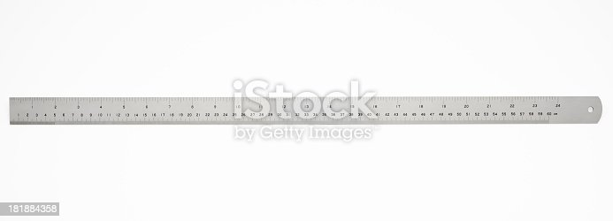 60 cm metal ruler isolated on white background with clipping path.