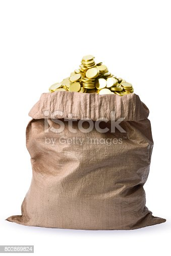 482747823istockphoto Isolated shot of a bag full of gold coins on white background 802869824