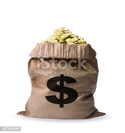 istock Isolated shot of a bag full of gold coins on white background 827855582