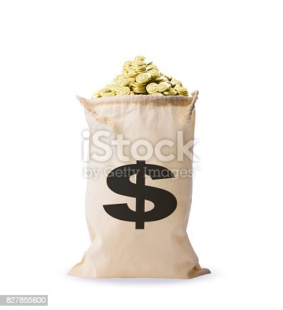 istock Isolated shot of a bag full of gold coins on white background 827855600