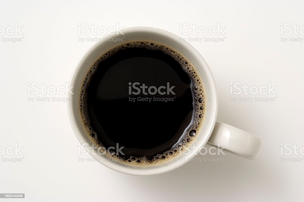 Isolated shot of a cup of coffee on white background stock photo