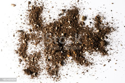 Close-up shot of brown dirt texture isolated on white background.