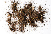 Isolated shot of abstract dirt texture on white background
