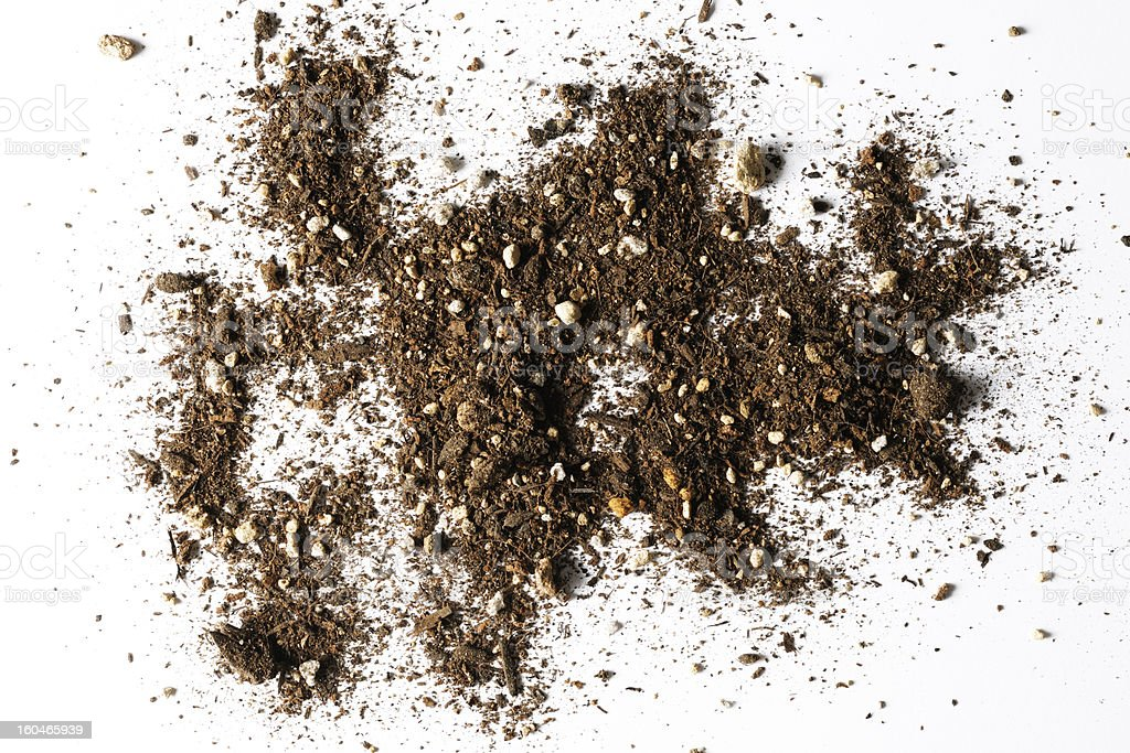 Isolated shot of abstract dirt texture on white background stock photo