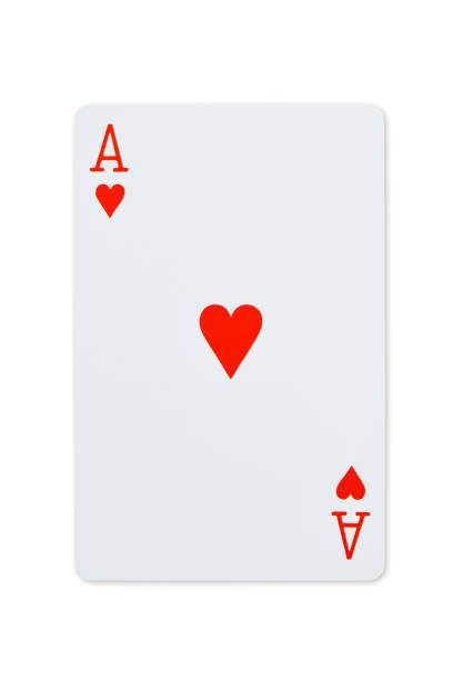 Isolated shot of Ace of hearts playing card on white background. stock photo