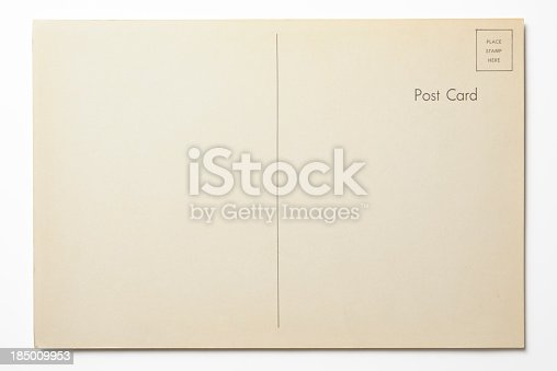 Antique postcard isolated on white background with clipping path.