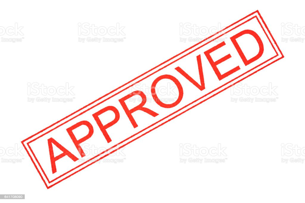"Isolated shot of ""APPROVED"" rubber stamp on white background stock photo"