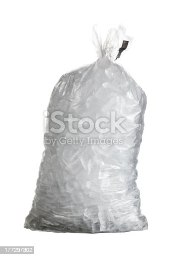 Ice cubes in plastic bag isolated with a pen tool created path in the file
