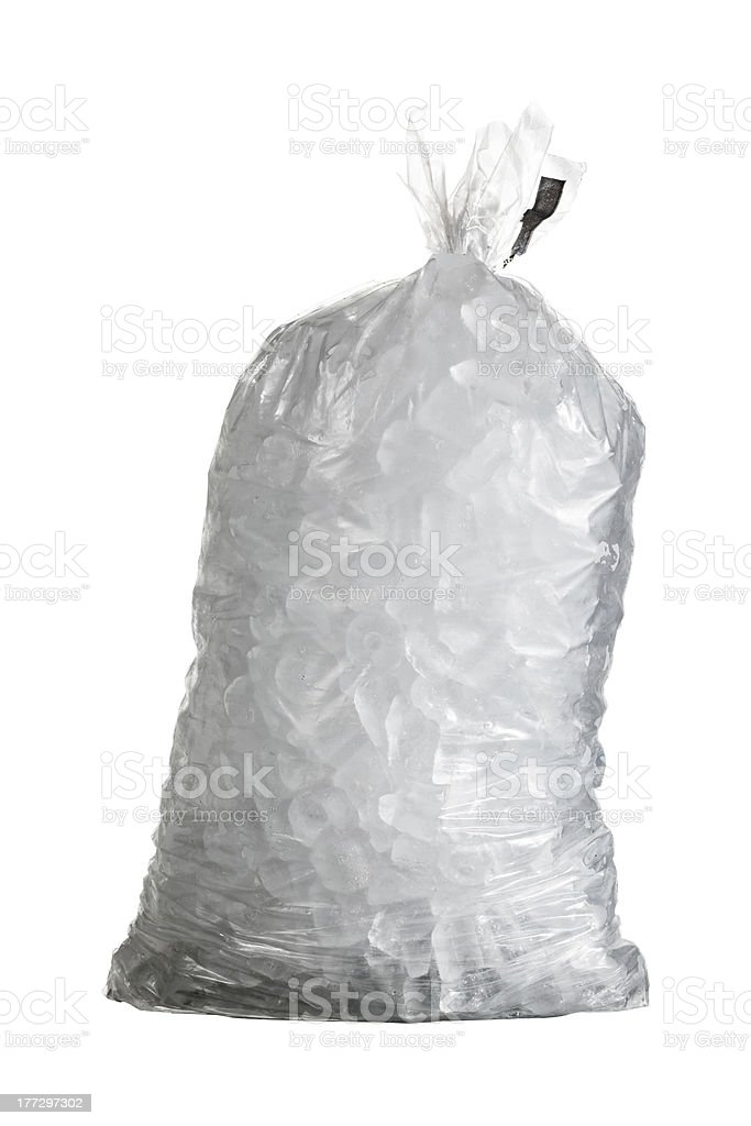 Isolated shot of bag containing ice stock photo