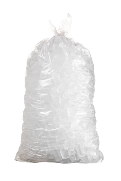 Isolated shot of bag of ice against a white background stock photo