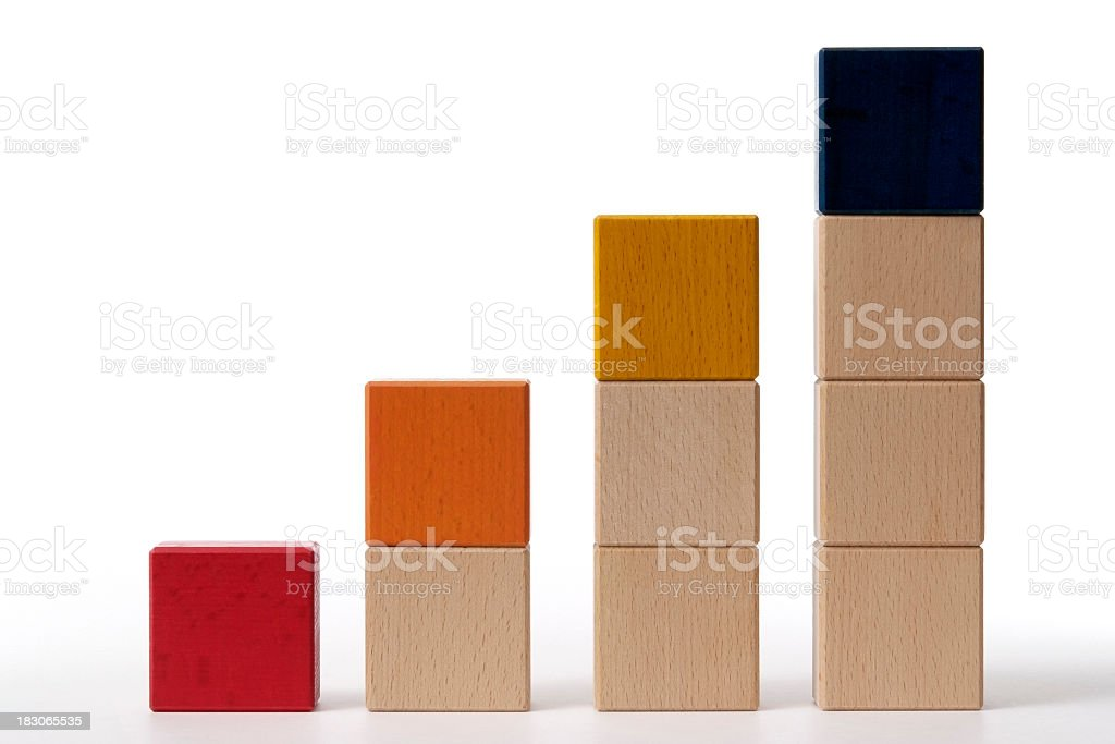 Isolated shot of bar chart from blocks on white background royalty-free stock photo