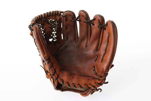 Isolated shot of baseball glove on white background stock photo