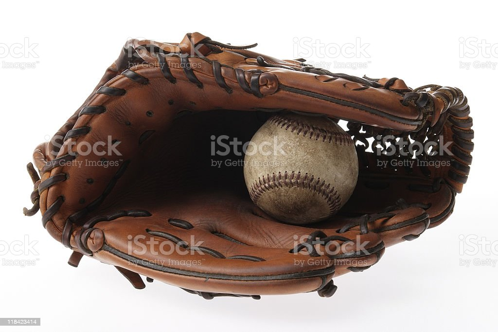 Isolated shot of Baseball glove with ball on white background royalty-free stock photo