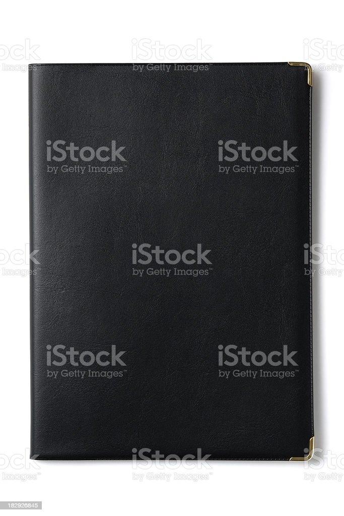 Isolated shot of black notebook on white background royalty-free stock photo