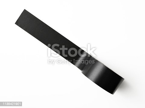 Overhead shot of black packing tape, isolated on white with clipping path.