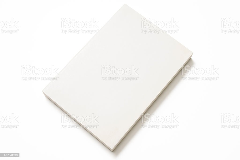 Isolated shot of blank book on white background stock photo