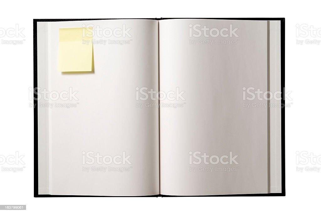Isolated shot of blank book with adhesive note on white royalty-free stock photo