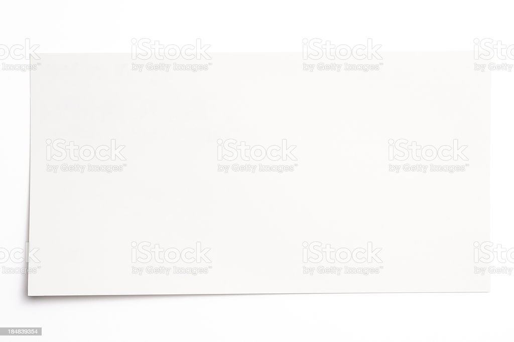 Isolated shot of blank card on white background royalty-free stock photo
