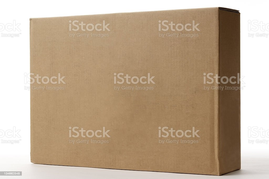 Isolated shot of blank cardboard box on white background stock photo