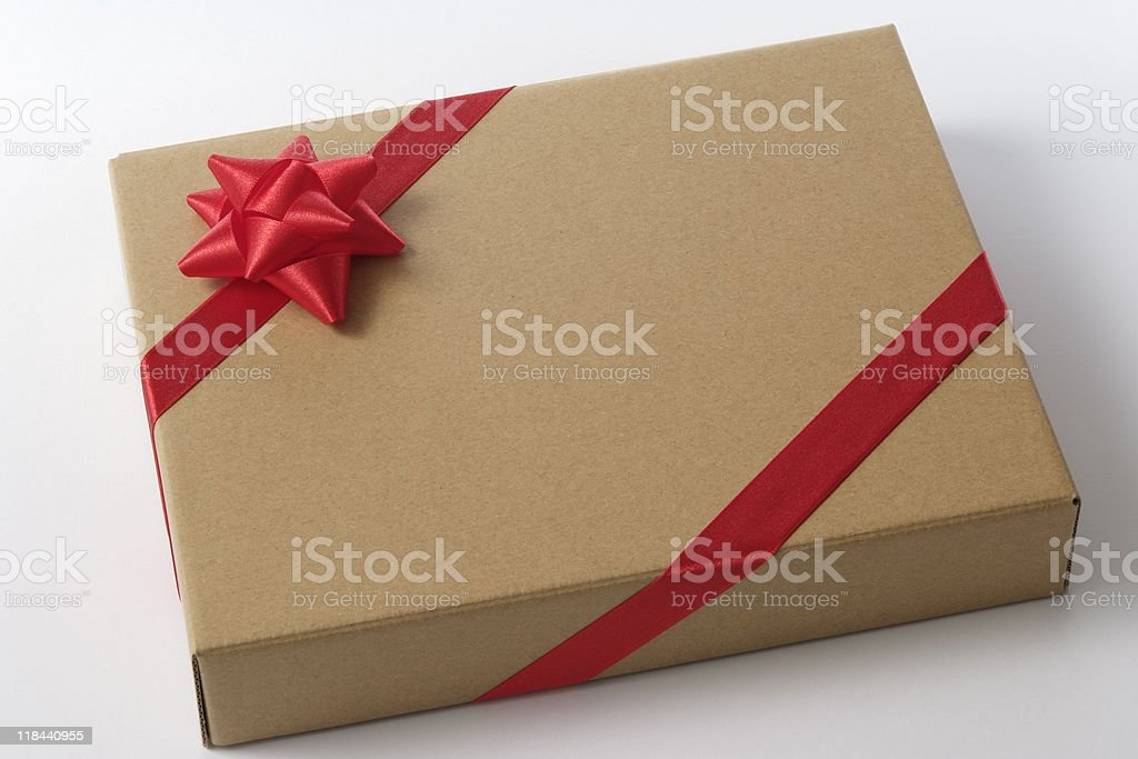 Isolated shot of blank cardboard gift box on white background royalty-free stock photo