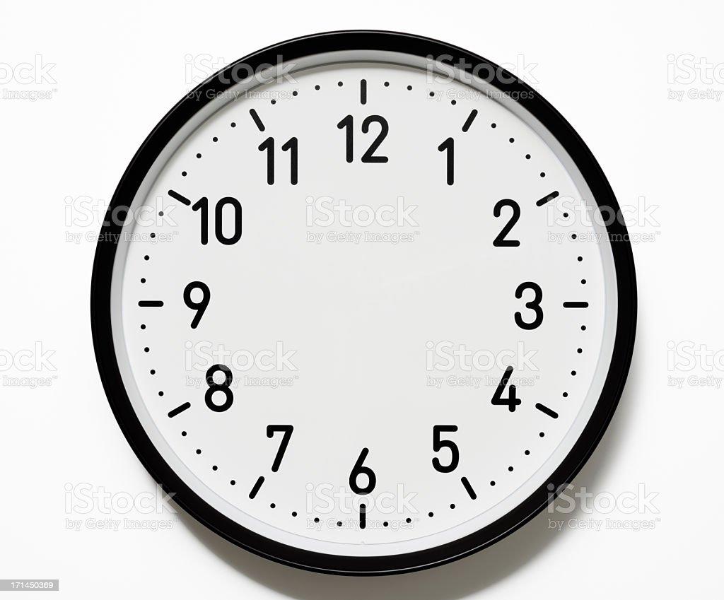 Isolated shot of blank clock face on white background stock photo