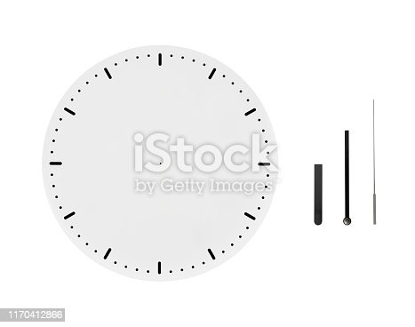 Blank clock face with three types clock hands on white background.