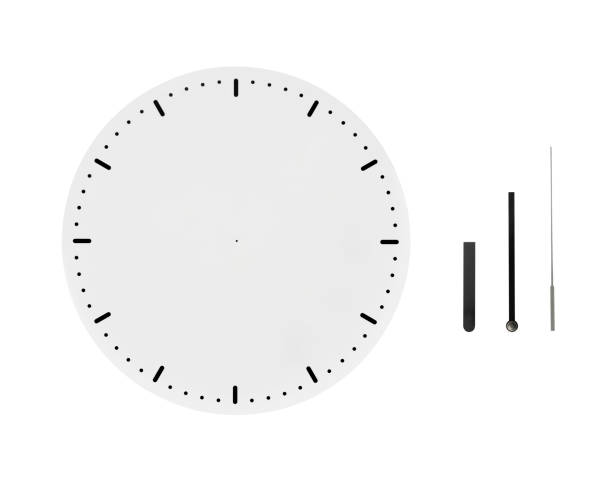 Isolated shot of blank clock face with clock hands on white background stock photo