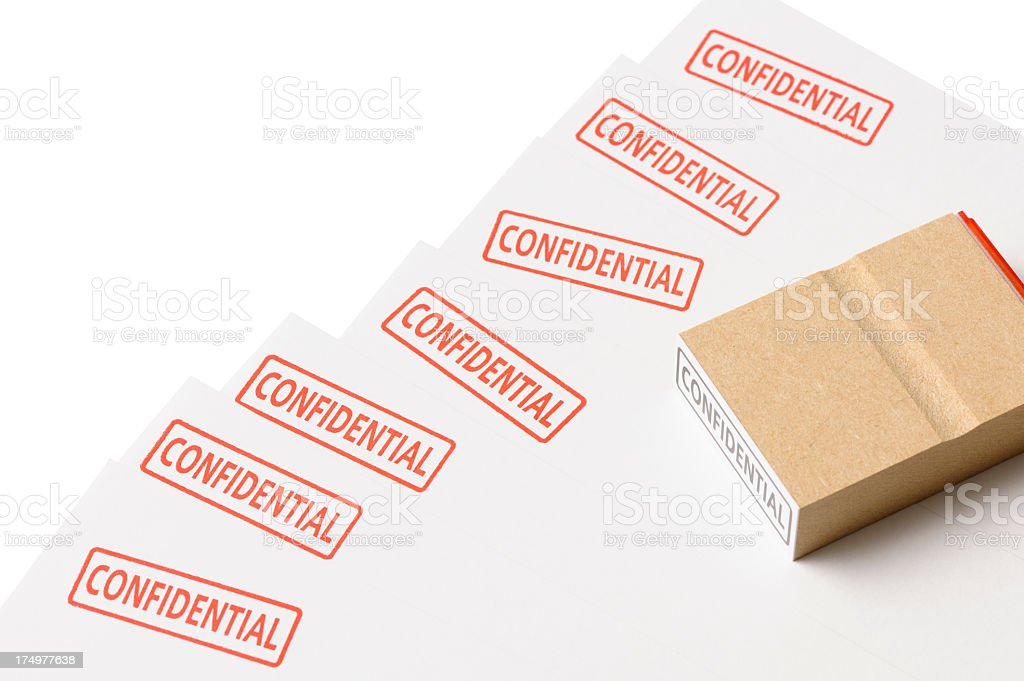 Isolated shot of blank confidential document on white background royalty-free stock photo