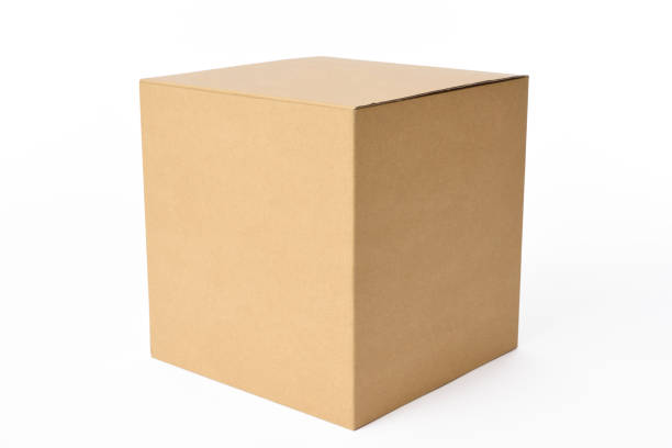 isolated shot of blank cube cardboard box on white background - cardboard box imagens e fotografias de stock