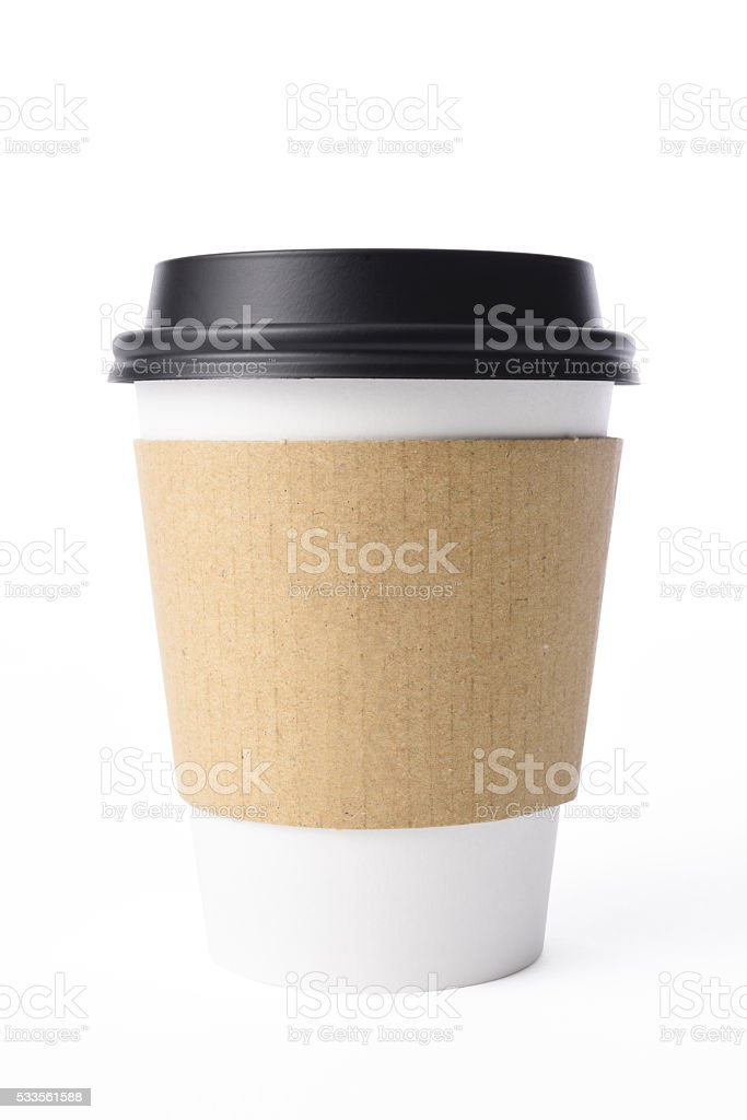 Isolated shot of blank disposable paper cup on white background stock photo