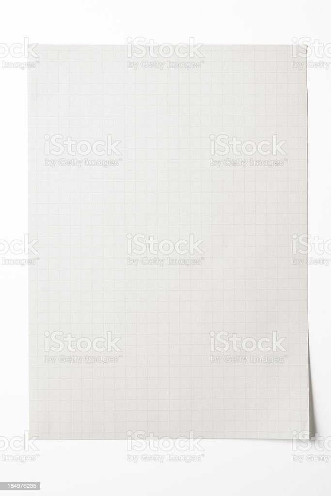 Isolated shot of blank graph paper on white background royalty-free stock photo