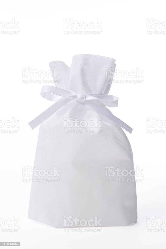 Isolated shot of blank organdy gift bag on white background stock photo